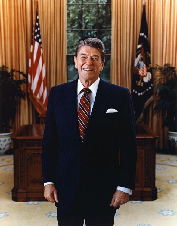 President Ronald Reagan in the Oval Office